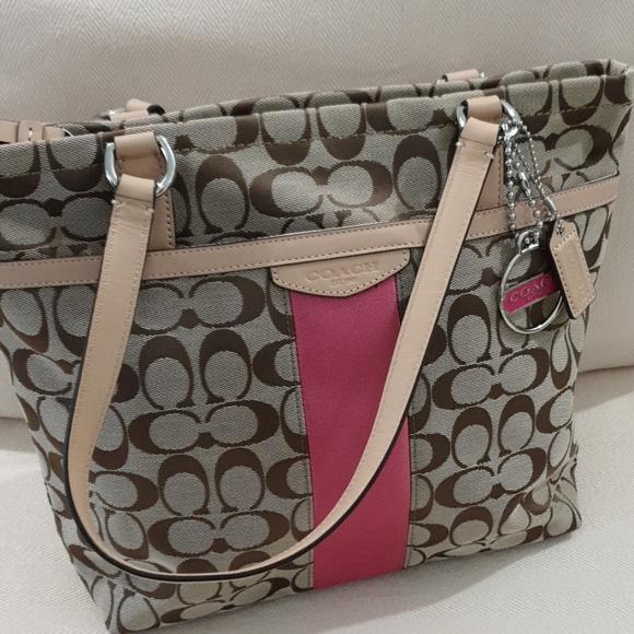 Coach Handbags - Coach Signature Pink strip Tote